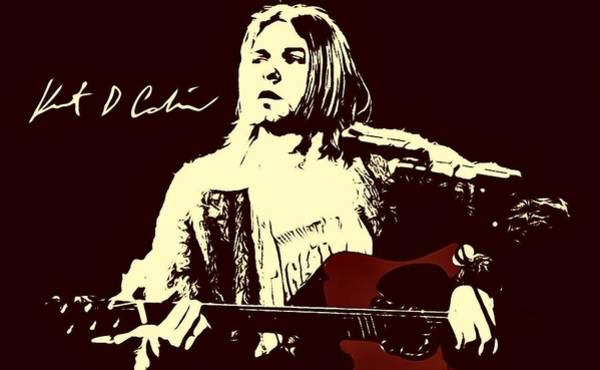 Dave Grohl Painting - Kurt Cobain Nirvana Portrait Painting Dipinto Malerei Cadre Marco by Artista Fratta
