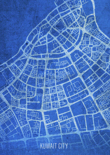 Wall Art - Mixed Media - Kuwait City Kuwait City Street Map Blueprints by Design Turnpike