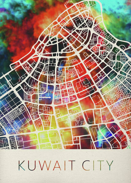 Wall Art - Mixed Media - Kuwait City Watercolor City Street Map by Design Turnpike