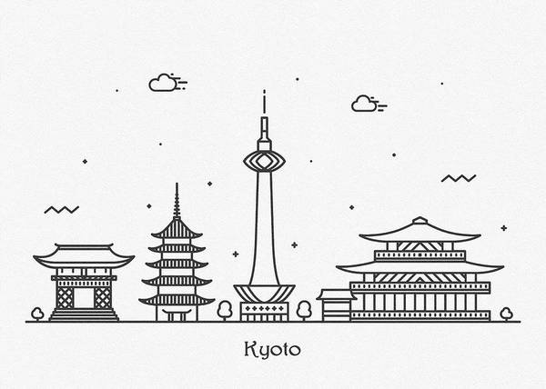 Kansai Wall Art - Drawing - Kyoto Cityscape Travel Poster by Inspirowl Design