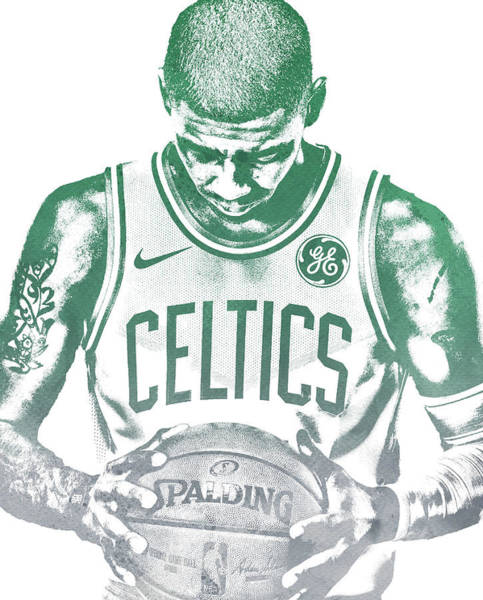 Wall Art - Mixed Media - Kyrie Irving Boston Celtics Water Color Pixel Art 30 by Joe Hamilton