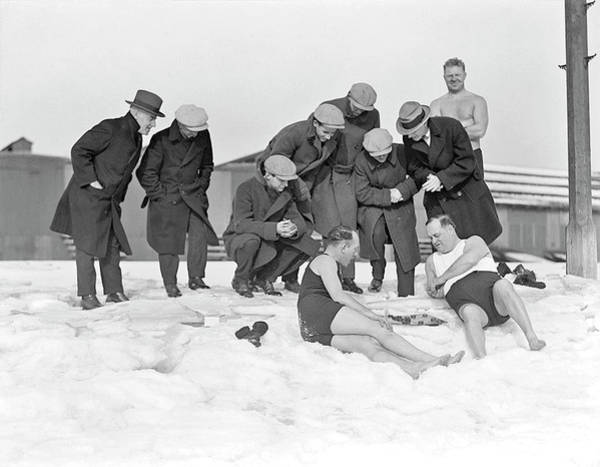 Painting - L Street Brownies Play Checkers In Snow And Zero Weather, South Boston, 1930 by Celestial Images