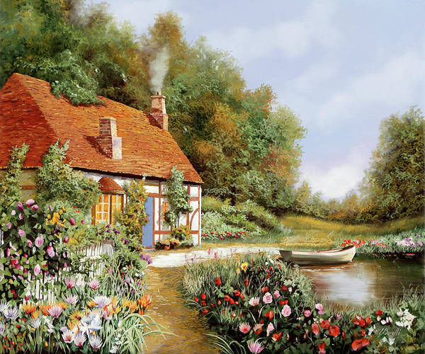 Wall Art - Painting - La Barca E I Fiori by Guido Borelli