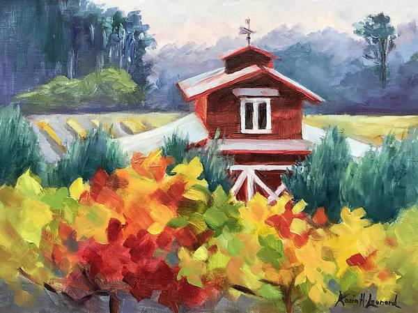Vida Wall Art - Painting - La Bella Vida, Autumn Vineyard by Karin Leonard
