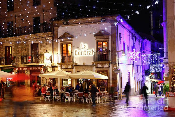 Photograph - La Central Cafe At Christmas Vigo Galicia by James Brunker