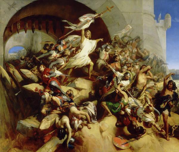Wall Art - Painting - La Defense De L'ile De Rhodes Par Foulques De Villaret, 1309 by Egide Charles Gustave Wappers