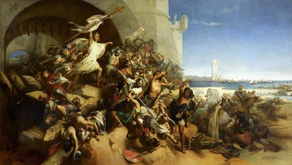 Wall Art - Painting - La Defense De L'ile De Rhodes Par Foulques De Villaret, 1309 by Gustaf Wappers