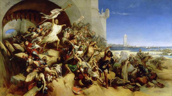 Wall Art - Painting - La Defense De L'ile De Rhodes Par Foulques De Villaret by Egide Charles Gustave Wappers