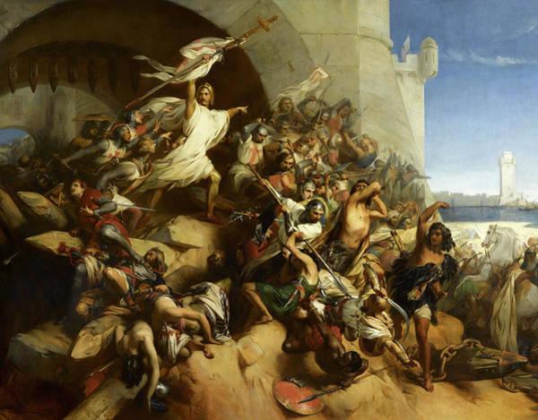 Wall Art - Painting - La Defense De L'ile De Rhodes Par Foulques De Villaret by Gustaf Wappers