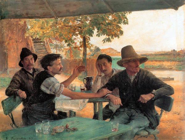 Painting - La Discussion Politique 1889  by Emile Friant