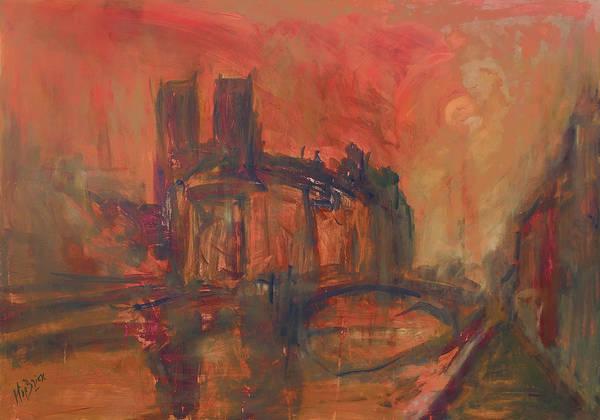 Wall Art - Painting - La Fleche Disparu Notre-dame Paris by Nop Briex