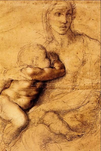 Wall Art - Painting - La Madonna Che Allatta Il Figlio by Michelangelo Buonarroti