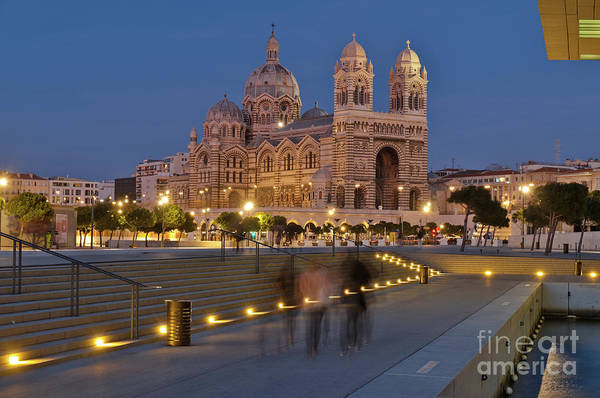 Photograph - La Major Cathedral In Marseille At Night by Angelo DeVal