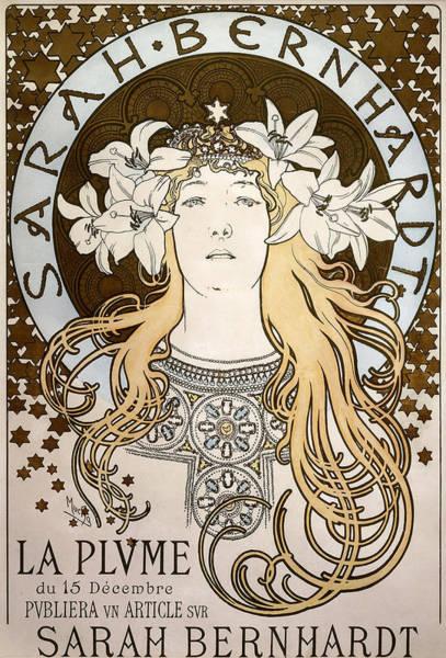 Caucasian Drawing - La Plume, Featuring Sarah Bernhardt, 1896 by Alphonse Marie Mucha