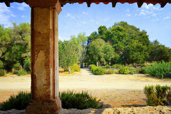 Mission Santa Barbara Photograph - La Purisima Mission Garden From The Arcade by Glenn McCarthy Art and Photography