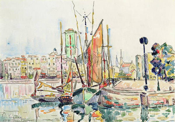 Dappled Light Painting - La Rochelle Boats And Houses by Paul Signac