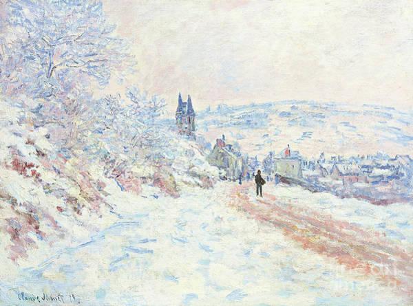 Wall Art - Painting - La Route De Vetheuil, Effet De Neige, 1879 by Claude Monet