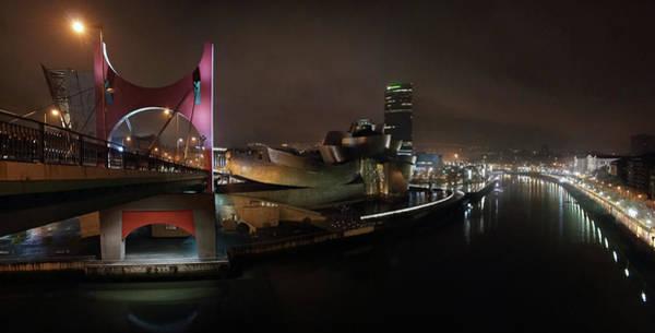 Guggenheim Wall Art - Photograph - La Salve Bridge, Bilbao At Night by Mariusz Kluzniak
