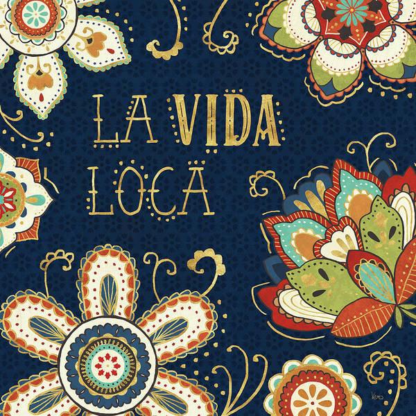 Crazy Painting - La Vida Loca II Blue by Veronique Charron