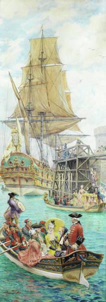 Wall Art - Painting - La Visite De La Fregat by Maurice Leloir