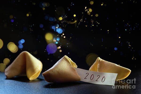 Photograph - Label Congratulating The New Year 2021 On A Lucky Cookie, Ideal For Greeting Cards. by Joaquin Corbalan