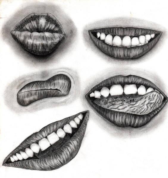 Sonrisa Wall Art - Drawing - Labios Eroticos by Andrea Urbina
