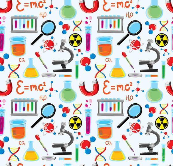 Experiment Wall Art - Digital Art - Laboratory Equipment Seamless Background by Mhatzapa