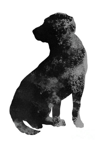 Wall Art - Painting - Labrador Poster Dog Silhouette Domestic Animal Watercolor Painting by Joanna Szmerdt