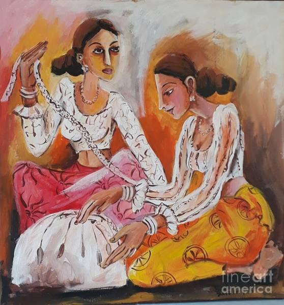 Wall Art - Painting - Lace Weavers by Sudumenike Wijesooriya