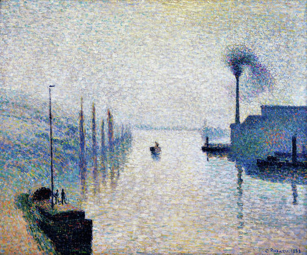 Riverbed Painting - Lacroix Island, Rouen  - Digital Remastered Edition by Camille Pissarro