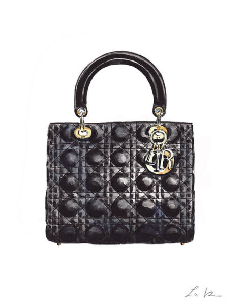 Wall Art - Painting - Lady Dior Black Handbag by Laura Row