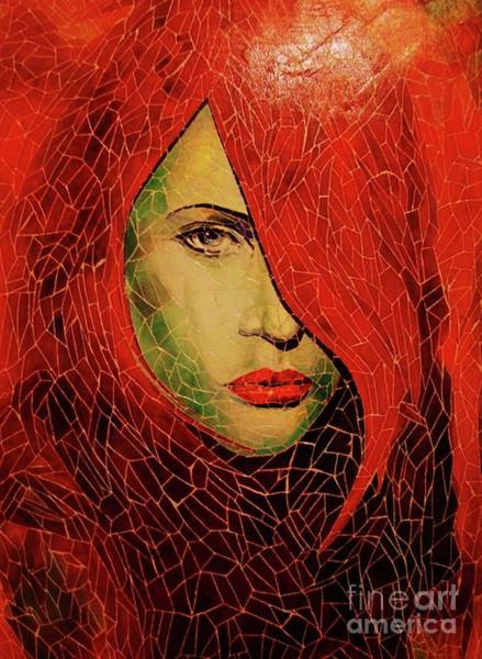 Mixed Media - Lady In Red by Qasir Z Khan