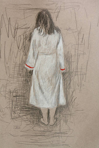 Wall Art - Drawing - Lady In White 3 by Hans Egil Saele