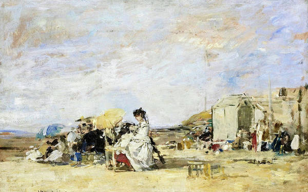 Wall Art - Painting - Lady In White On The Beach At Trouville - Digital Remastered Edition by Eugene Louis Boudin