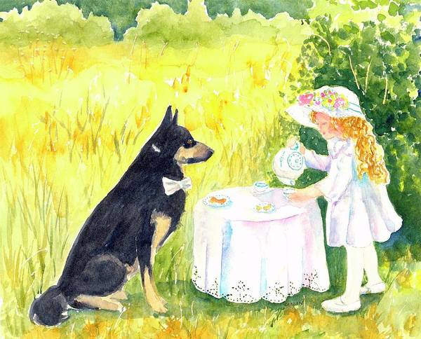 Painting - Lady Isabella Invites Mr. Darcy To Tea by Carlin Blahnik CarlinArtWatercolor