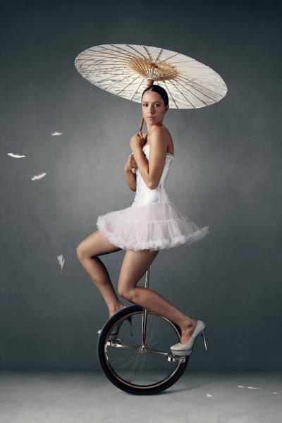 Young Woman Photograph - Lady On A Unicycle by Johan Swanepoel