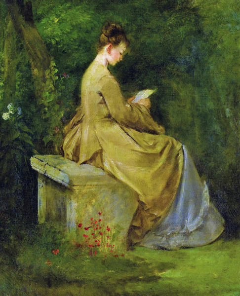 Wall Art - Painting - Lady Reading On A Bench - Digital Remastered Edition by Mariano Fortuny