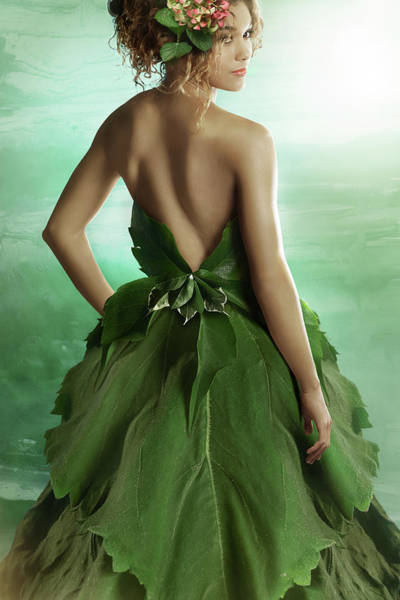 Environmental Issues Photograph - Lady Wearing A Fashionable Dress Made by Paper Boat Creative
