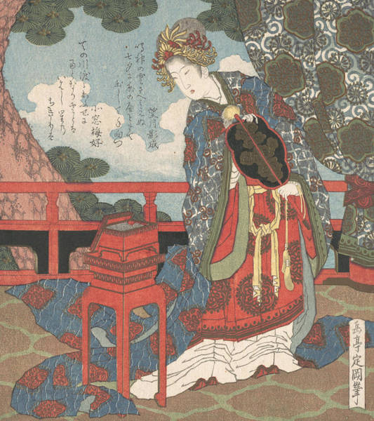 Relief - Lady With Fan Standing On Verandah by Yashima Gakutei
