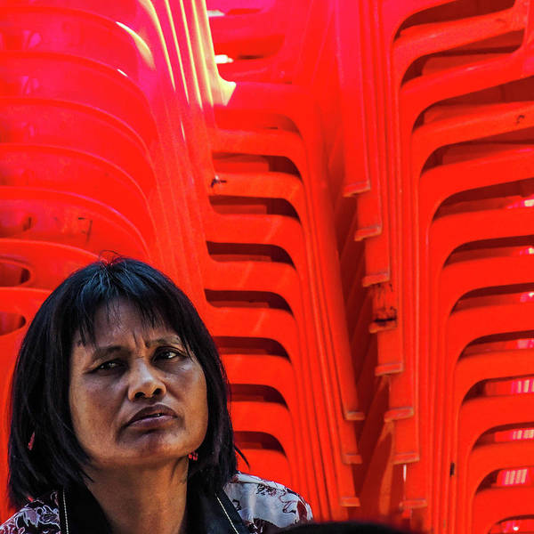 Photograph - Lady With Red Chairs by Jeremy Holton