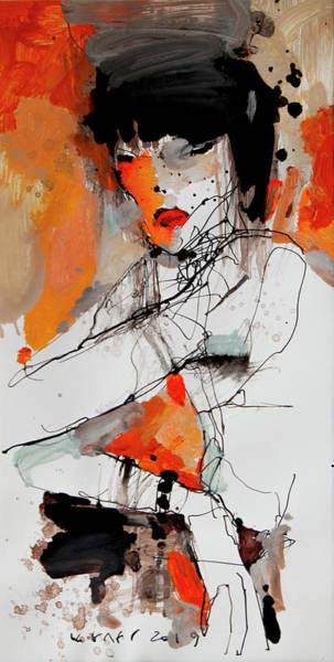 Wall Art - Drawing - Lady2 by Viktor Sheleg