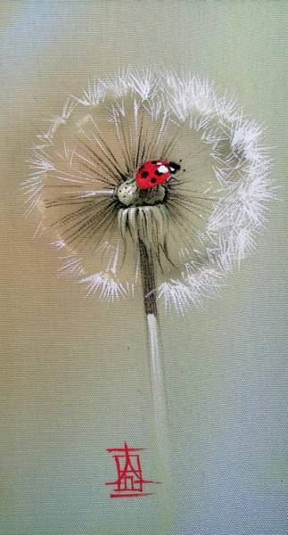 Painting - Ladybug On Dandelion by Alina Oseeva