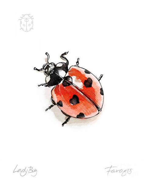 Bug Drawing - Ladybug by Peter Farago