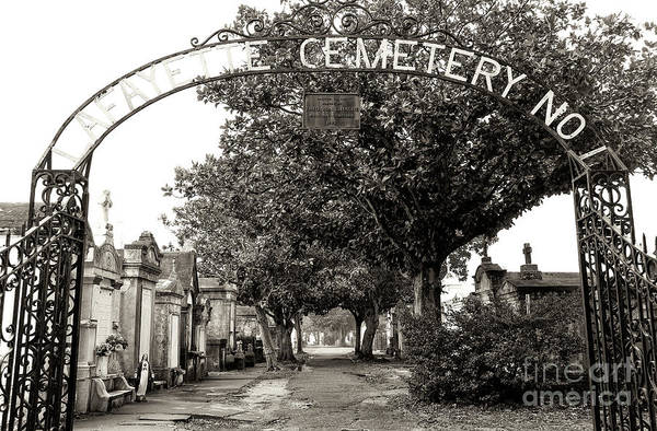 Lafayette Cemetery No. 1 Sepia In New Orleans Art Print by John Rizzuto