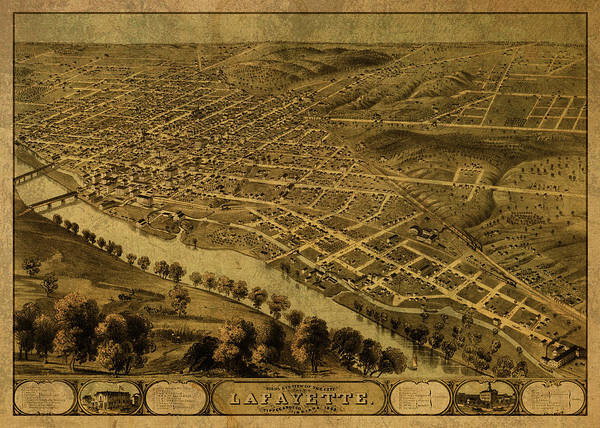 Lafayette Mixed Media - Lafayette Indiana Vintage City Street Map 1868 by Design Turnpike