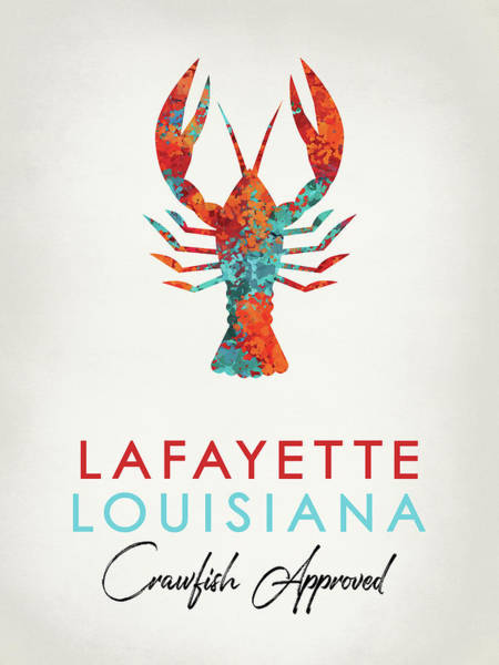 Louisiana Digital Art - Lafayette Louisiana Crawfish Bright by Flo Karp