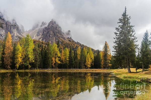 Wall Art - Photograph - Lago Antorno With Mauntain Reflected In by Stephen Mulligan