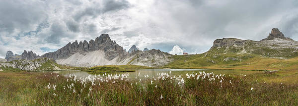 Wall Art - Photograph - Lago Dei Piani At The Three Peaks Cottage With Paternkofel And Toblinger Knot Sesto Dolomites South by imageBROKER - Mara Brandl