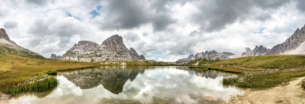 Wall Art - Photograph - Lago Dei Piani At The Three Peaks Cottage With Schusterplatte And Altensteinspitz Sexten Dolomites by imageBROKER - Mara Brandl