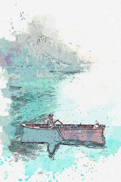 Painting - Lago Di Braies, Braies, Italy -  Watercolor By Ahmet Asar by Ahmet Asar